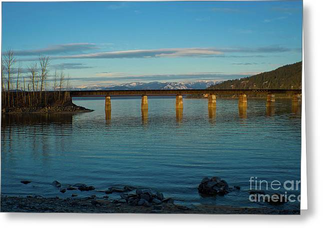Lake Pend Oreille Greeting Cards - BNSF bridge Greeting Card by Idaho Scenic Images Linda Lantzy