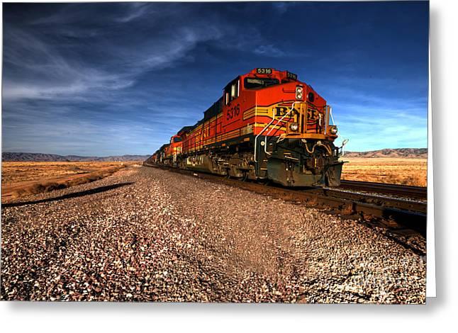 Burlington Northern Greeting Cards - BNSF freight  Greeting Card by Rob Hawkins