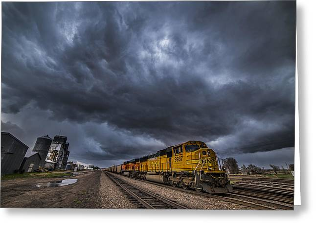 Small Town Usa Greeting Cards - BNSF Storm Greeting Card by Darren  White