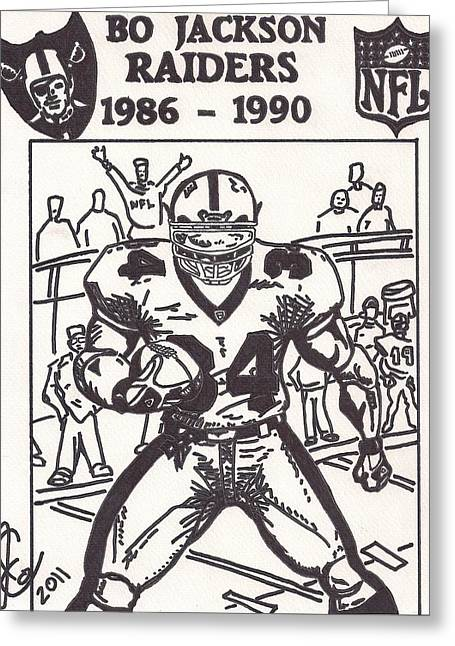 Bo Jackson Greeting Cards - Bo Jackson 1 Greeting Card by Jeremiah Colley