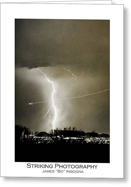 Photography Lightning Greeting Cards - Bo Trek Lightning BW Fine Art Poster Print Greeting Card by James BO  Insogna