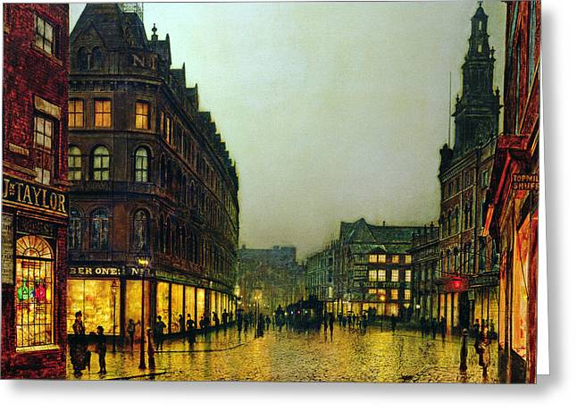 City Rain Greeting Cards - Boar Lane Greeting Card by John Atkinson Grimshaw