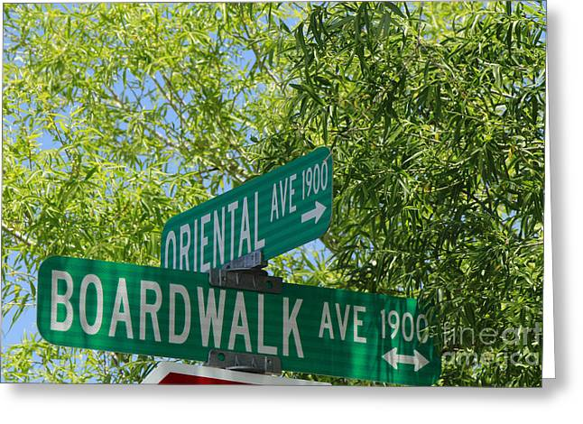 Monopoly Greeting Cards - Boardwalk and Oriental Ave Sign Greeting Card by Phyllis Bradd