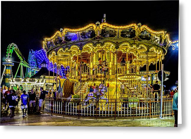 Beach Greeting Cards - Boardwalk Carousel Greeting Card by Nick Zelinsky