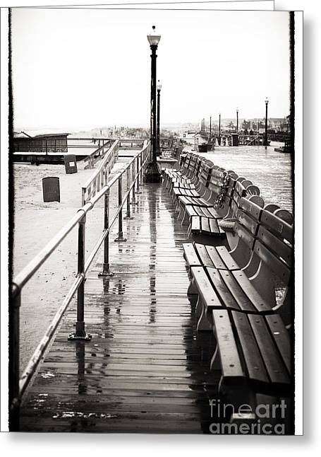 Snow. Ocean Greeting Cards - Boardwalk Centered Greeting Card by John Rizzuto