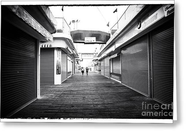 Seaside Heights Greeting Cards - Boardwalk Joggers Greeting Card by John Rizzuto