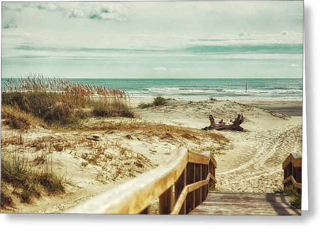 Lindsay Greeting Cards - Boardwalk on Tybee Beach Greeting Card by A Different Brian Photography