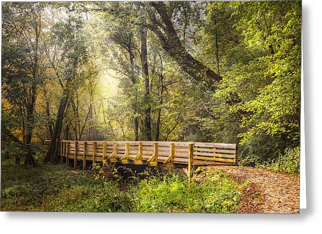 A River In Autumn Greeting Cards - Boardwalk over the River Greeting Card by Debra and Dave Vanderlaan