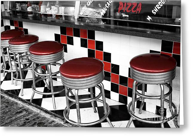Pizza Places Greeting Cards - Boardwalk Stool Fusion Greeting Card by John Rizzuto