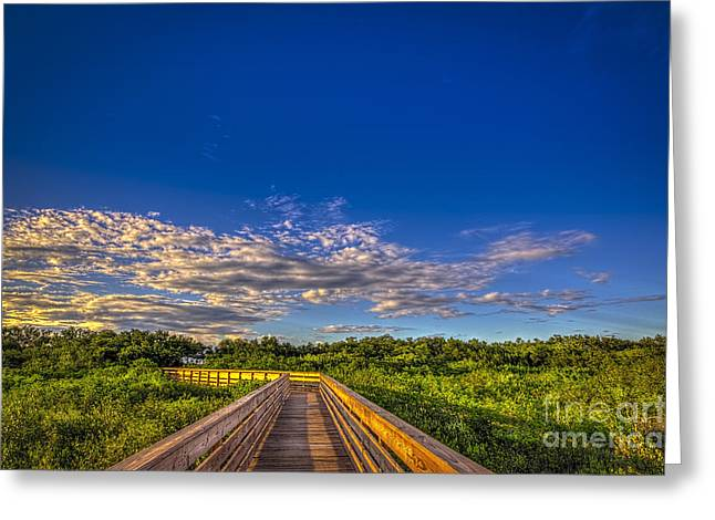 Spring Scenes Greeting Cards - Boardwalk Sunset Greeting Card by Marvin Spates