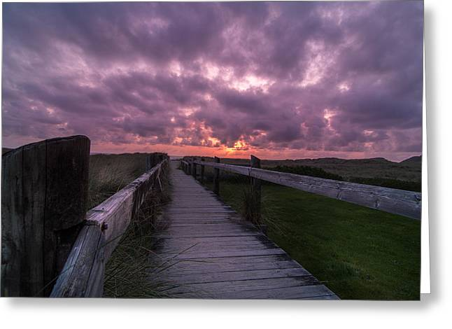 Northwest Greeting Cards - Boardwalk to Pacific Ocean Greeting Card by Michael J Bauer