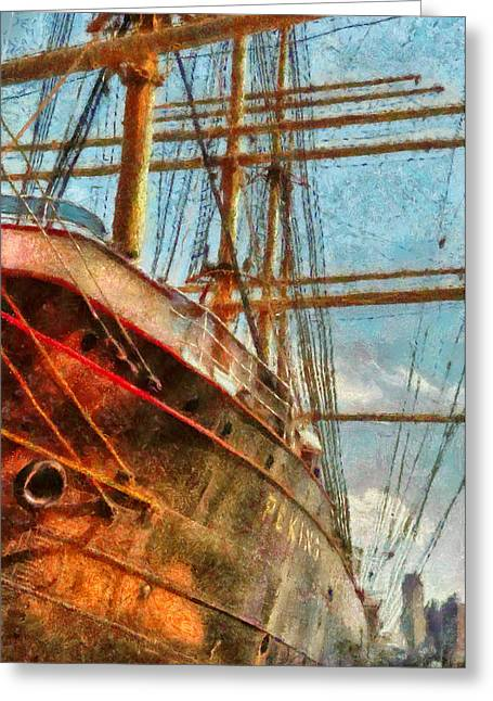 Peking Greeting Cards - Boat - NY - South Street Seaport - Peking Greeting Card by Mike Savad