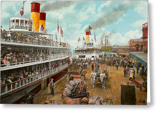 Boat - A Vacation To Remember - 1901 Greeting Card by Mike Savad