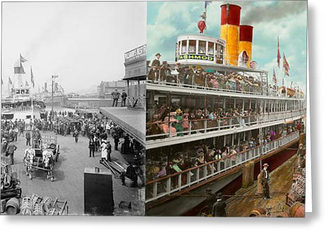 The Horse Greeting Cards - Boat - A vacation to remember - 1901 Side by side Greeting Card by Mike Savad