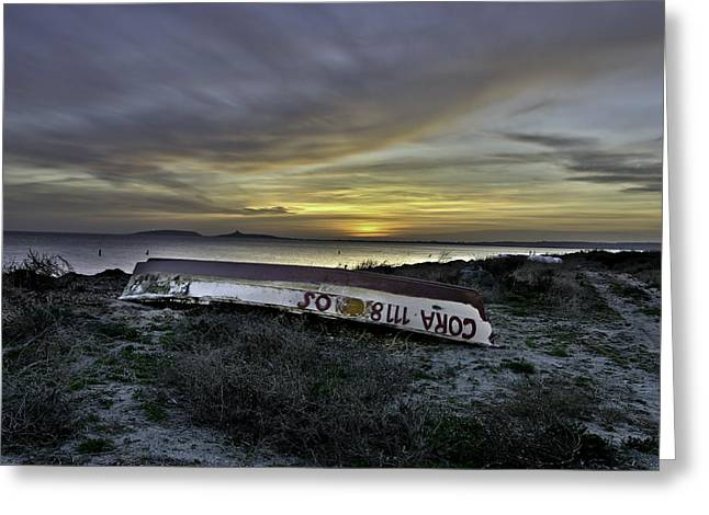 Mediterranean Landscape Pyrography Greeting Cards - Boat abandoned on the beach Greeting Card by Enrico Crobu
