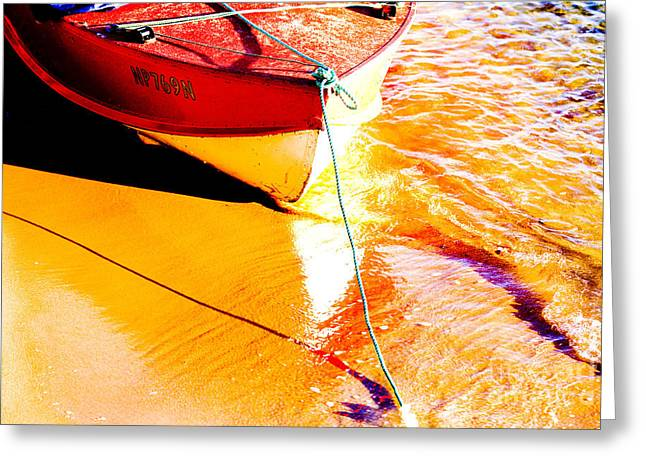 Water Greeting Cards - Boat abstract Greeting Card by Sheila Smart