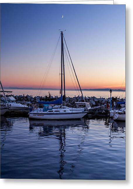 Ocean Art Photos Greeting Cards - Boat And New Moon Greeting Card by Alan W