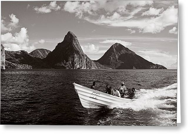 St Lucia Greeting Cards - Boat and Pitons-St Lucia Greeting Card by Chester Williams