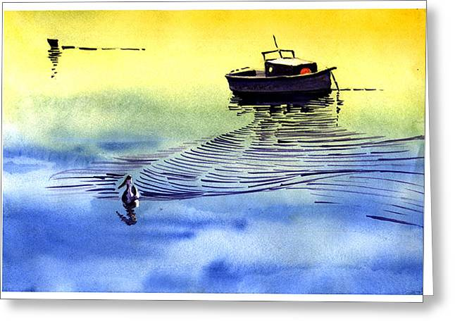 Anil Nene Greeting Cards - Boat and the seagull Greeting Card by Anil Nene