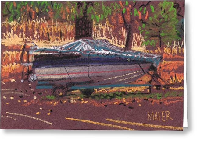 Boat Pastels Greeting Cards - Boat and Trailer Greeting Card by Donald Maier