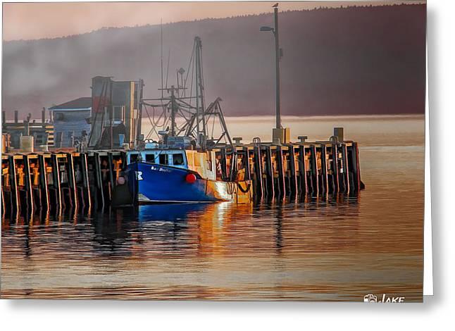 Fishing Boats Greeting Cards - Fishing Boat at dawn Digby Nova Scotia Greeting Card by Jake Steele