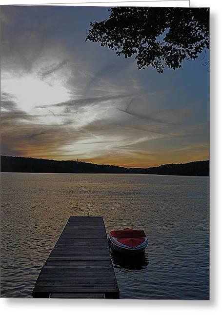 Boats At Dock Greeting Cards - Boat at Dusk Greeting Card by Jeff Bader