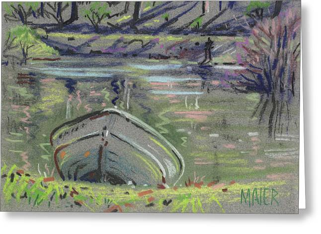 Fishing Boats Pastels Greeting Cards - Boat at the Lake Greeting Card by Donald Maier