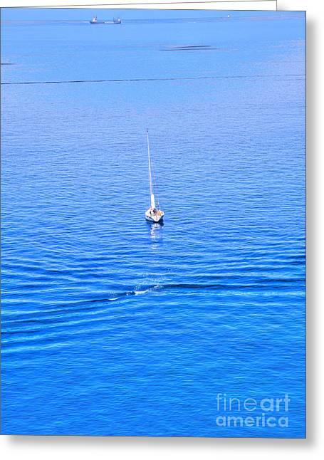 Fishing Boats Greeting Cards - boat at the Ligurian Coast of Italy Greeting Card by Regina Koch