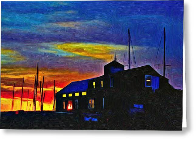 Boat Builder's Dawn Greeting Card by Jeffrey Canha