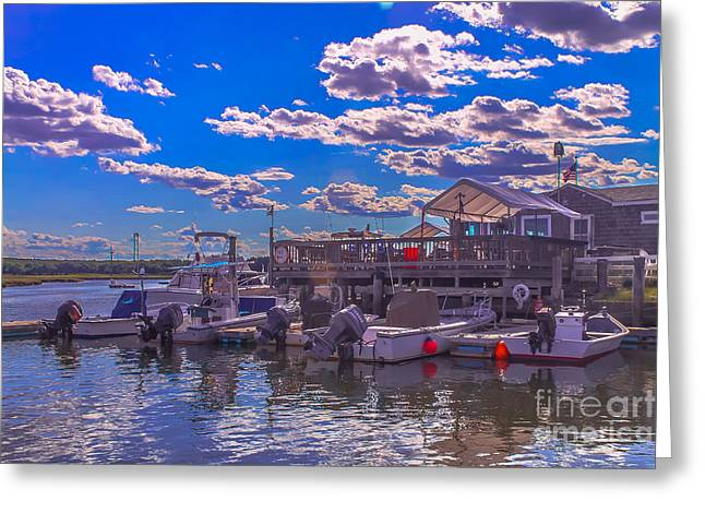 Boat Club In Hampton Greeting Card by Claudia M Photography