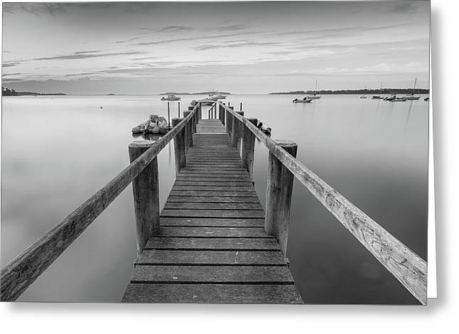 Boat Dock At Sunrise Black-and-white Panorama Greeting Card by Dapixara Art