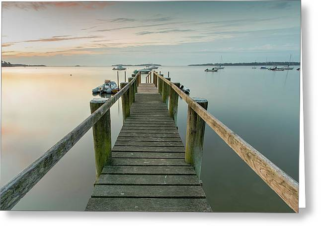 Boat Dock At Sunrise Grey Blue Panorama Greeting Card by Dapixara Art