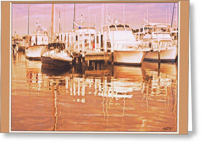 Boats At Dock Greeting Cards - Boat Dock At Sunset3 Greeting Card by John Breen