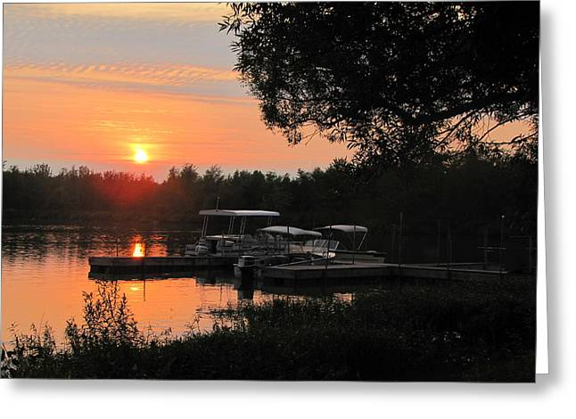 Docked Boat Pyrography Greeting Cards - Boat Dock Firewater 4 Greeting Card by Roxanne Butler
