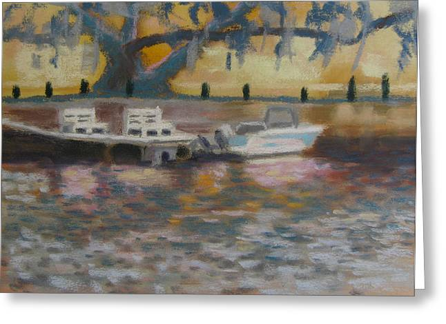 Docked Boat Pastels Greeting Cards - Boat Dock In New Port Richey Greeting Card by Phoebe Chidester