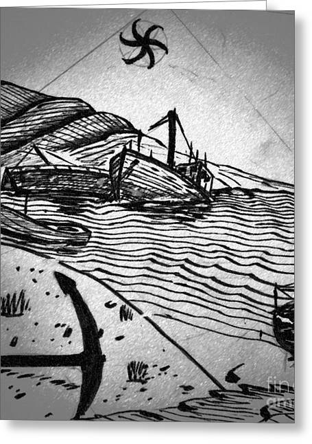 Carrier Drawings Greeting Cards - Boat Graveyard Greeting Card by Liam Conroy