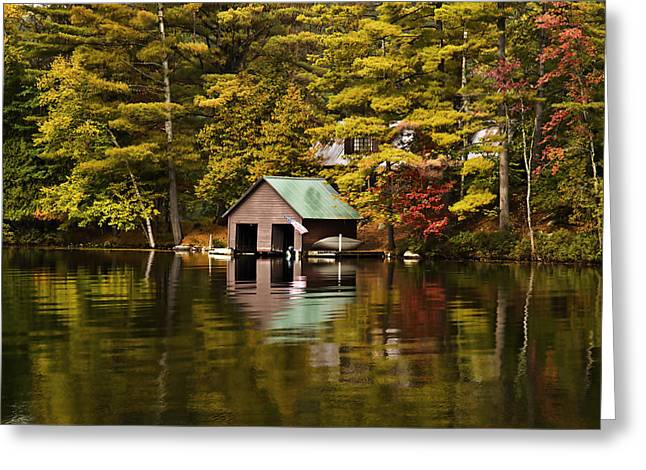 Boat House Greeting Card by David Simons