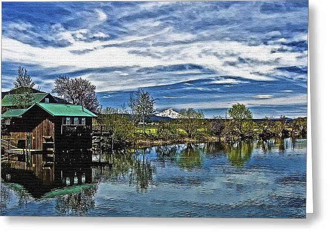 Reflections In River Greeting Cards - Boat House on Canvas Greeting Card by Dennis Adams