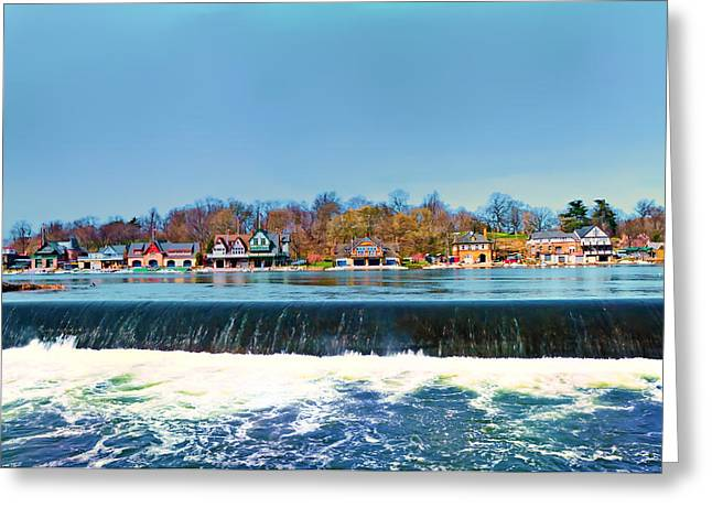 Philadelphia Digital Greeting Cards - Boat House Row from Fairmount Dam Greeting Card by Bill Cannon