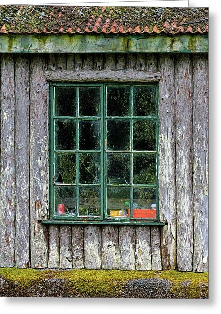 Boat House Window Greeting Card by Chris Buff