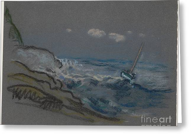 Boat In Distress Greeting Card by Celestial Images