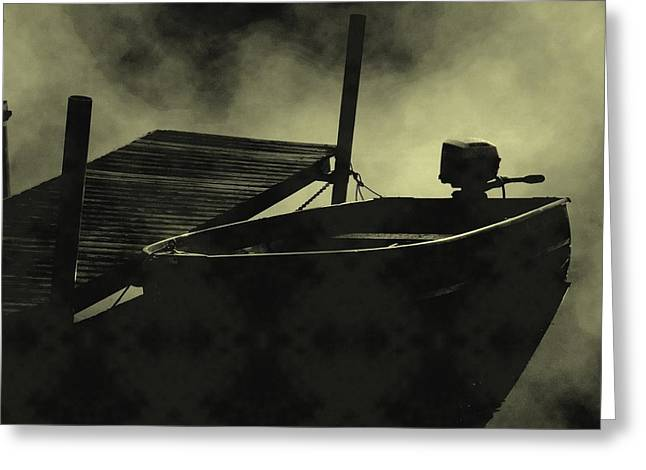 Boat In Fog Greeting Card by Michael L Kimble