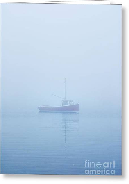 Boat In Mist Greeting Card by John Greim