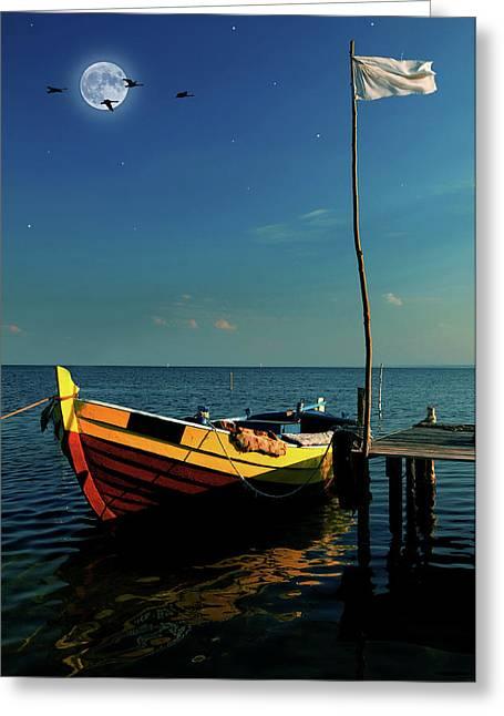 Seaside Digital Greeting Cards - Boat in moonlight Greeting Card by Jaroslaw Grudzinski