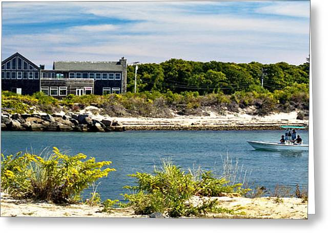York Beach Greeting Cards - Boat Leaving Inlet Greeting Card by John Hoesly