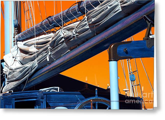 Sailboat Photos Greeting Cards - Boat Mast Pop Art Greeting Card by John Rizzuto
