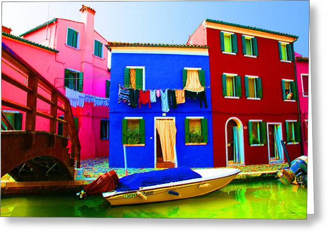 Venice Pastels Greeting Cards - Boat Matching House Greeting Card by Donna Corless