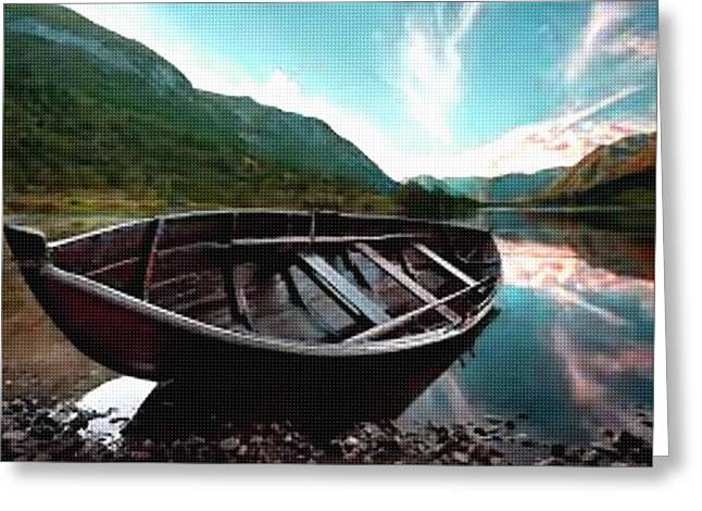 Message Pastels Greeting Cards - Boat near the River Bank H b Greeting Card by Gert J Rheeders