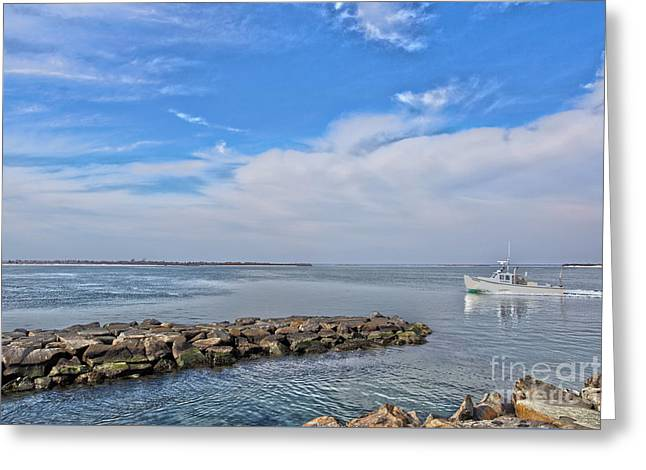 Ocean Landscape Greeting Cards - Boat On Barnegat Bay Greeting Card by Tom Gari Gallery-Three-Photography