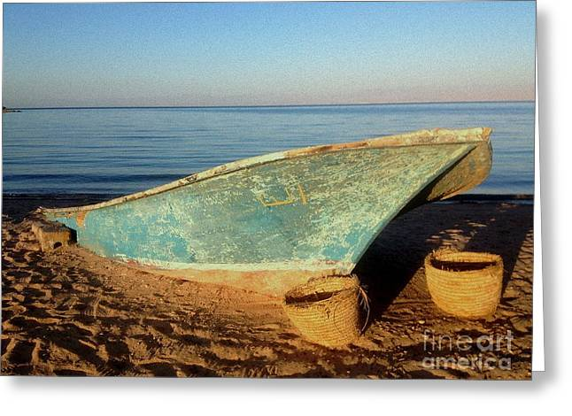 Wooden Ship Greeting Cards - Boat on Beach Greeting Card by Noa Yerushalmi